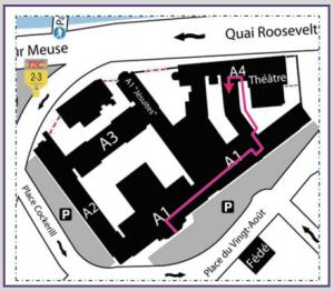 Plan de localisation de la salle S 100 : ULg, Place du XX Août, Bâtiment A4 4000 Liège